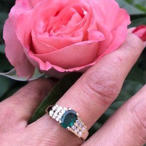 Jewelry - 14K Yellow Gold Natural Oval Emerald & Diamonds Rg